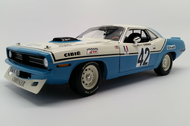 Plymouth Hemi 'Cuda (1970 Chrysler of France) | 1:18-Scale Diecast Model Car by Acme Trading Company | Front Quarter