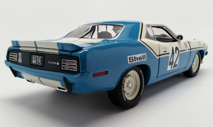 Plymouth Hemi 'Cuda (1970 Chrysler of France) | 1:18-Scale Diecast Model Car by Acme Trading Company | Rear Quarter