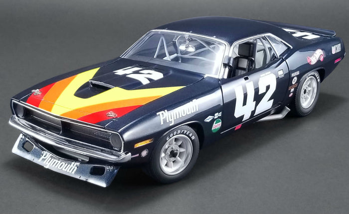 Plymouth Barracuda Trans Am (Swede Savage) | 1:18 Scale Diecast Model Car by Acme Trading Co. | Front Quarter