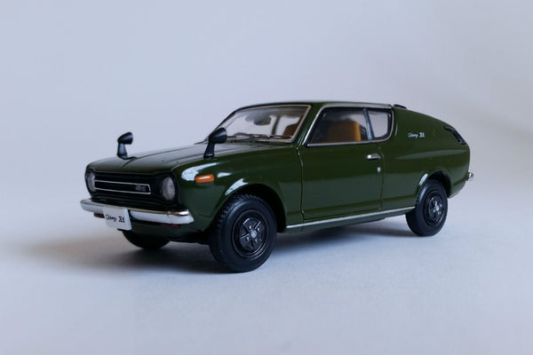 Nissan Cherry X1 (1973) | 1:43 Scale Diecast Model Car by Ebbro | Front Quarter
