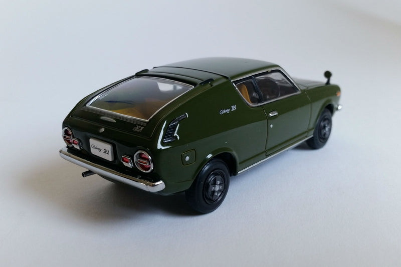 Nissan Cherry X1 (1973) | 1:43 Scale Diecast Model Car by Ebbro | Rear Quarter