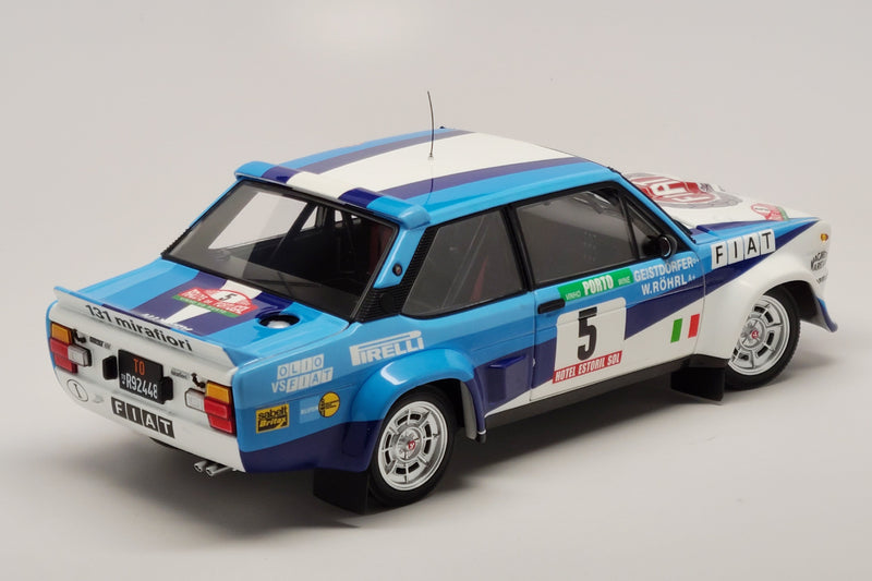 Fiat 131 Abarth (1980 Rally Portugal Winner) | 1:18 Scale Diecast Model Car by Kyosho | Rear Quarter