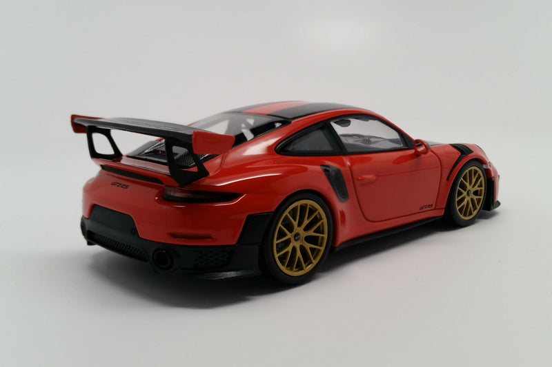 Porsche 911 GT2RS Weissach Package (991.2) | 1:43 Scale Diecast Model Car by Minichamps | Rear Quarter
