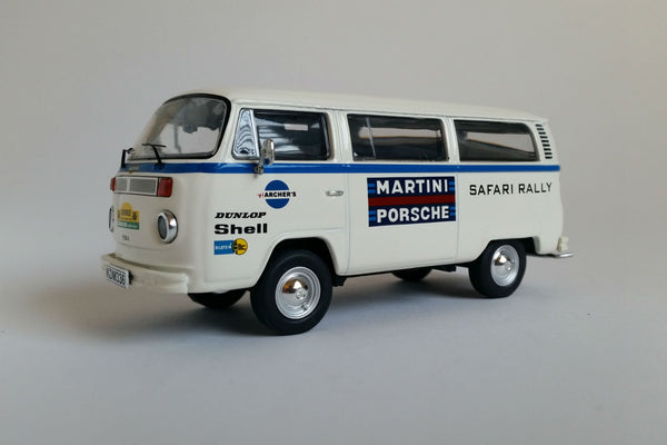 Volkswagen T2 Transporter (Team Martini Safari Rally) | 1:43 Scale Diecast Model Car by Premium ClassiXXs | Front Quarter