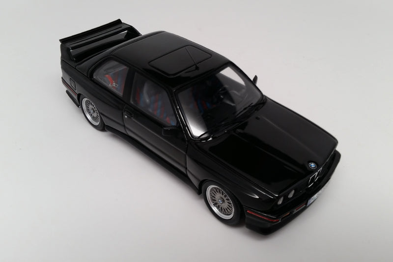 BMW M3 Sport Evolution (1990) | 1:43 Scale Model Car by Spark | Black Variant Front Quarter