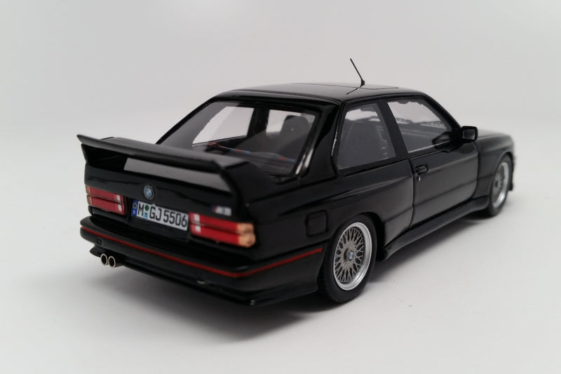 BMW M3 Sport Evolution (1990) | 1:43 Scale Model Car by Spark | Black Variant Rear Quarter