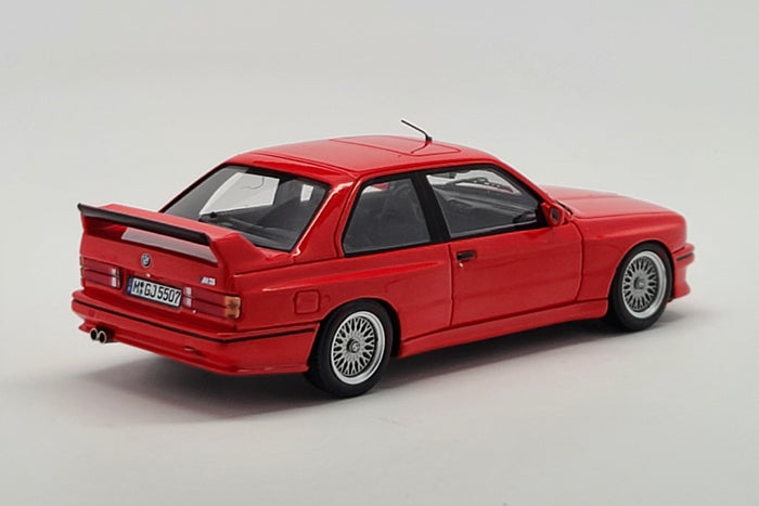 BMW M3 Sport Evolution (1990) | 1:43 Scale Model Car by Spark | Red Variant Rear Quarter