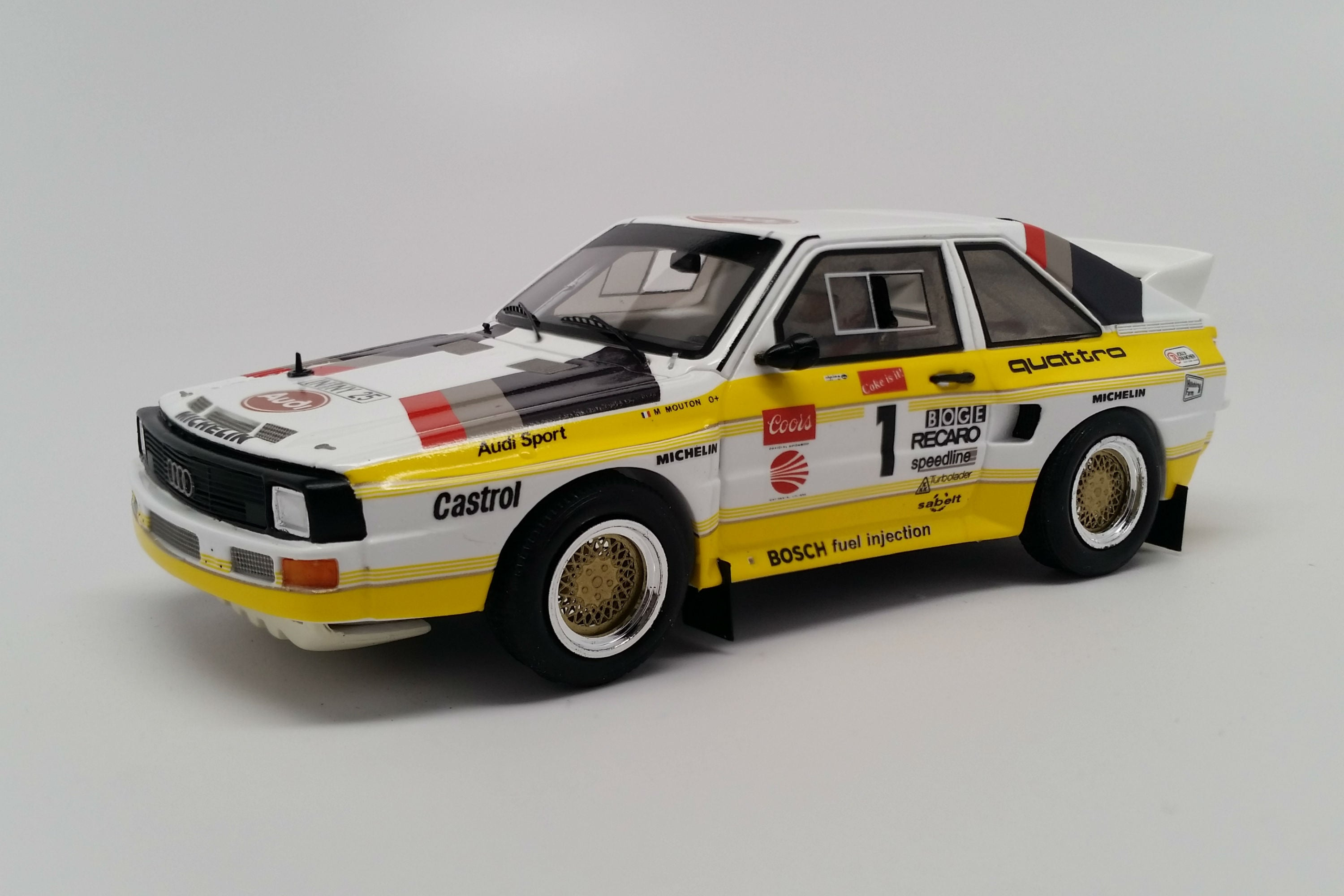 Audi Sport Quattro S1 (1985 Pikes Peak) | 1:43 Scale Model Car by Spark| Front Quarter