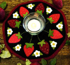 Little Stitchies - Strawberries Candle Mat