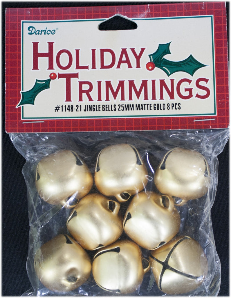 Jingle Bells 25mm 8 Piece Package Matte Gold