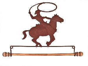 7-1/2in Rusty Tin Cowboy On Horse Fabric Holder