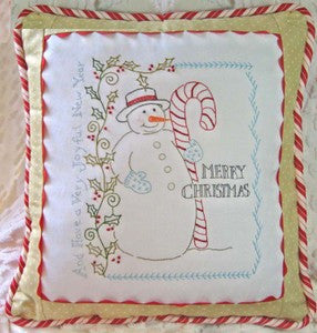 Vintage Candy Cane Snowman Pillow