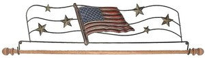 22in Tin Flag Fabric Hanger With Wooden Dowel