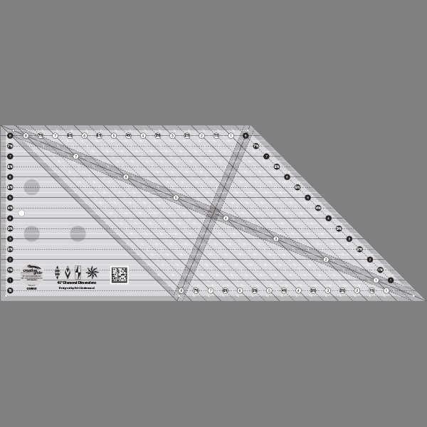 Creative Grids 8in 45 Degree Diamond Dimenions Ruler