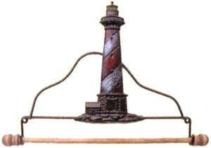 7-1/2in Tin Lighthouse Fabric Holder