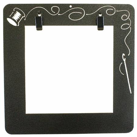 6.5in Deco Wall Frame Needle and Thread with Clips charcoal