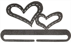 6in Stitched Hearts Split Bottom Charcoal