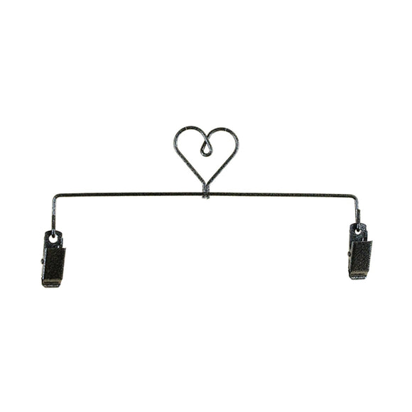 8in Heart Clip Holder Charcoal