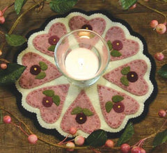 Little Stitchies - Hearts and Flowers Candle Mat