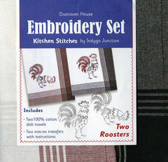 Towel Embroidery Set 2 - Two Roosters
