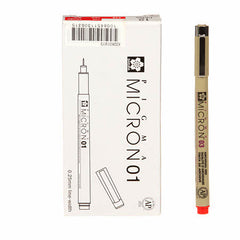 Pigma Micron Pen Red .25mm Size 01