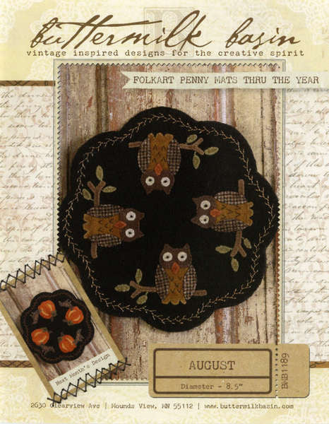 Folkart Penny Mats Thru the Year - August Owls