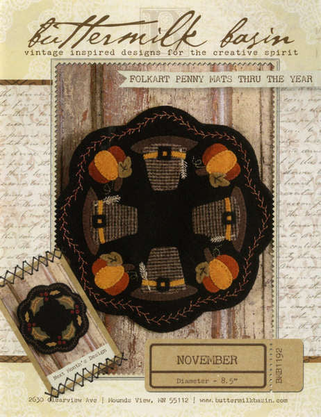 Folkart Penny Mats Thru the Year - November Pilgrim Hat