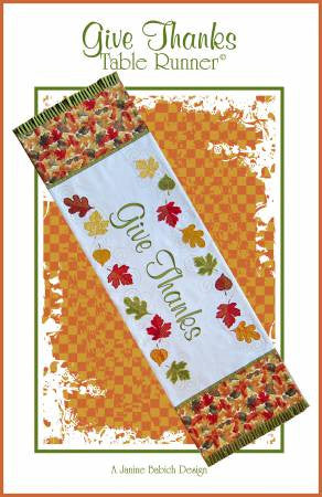 Give Thanks Table Runner Machine Embroidery