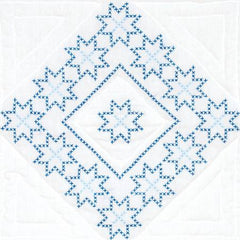 White 18in Quilt Squares XX Stars