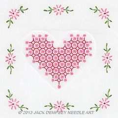 Chicken Scratch Hearts Quilt Blocks 9in