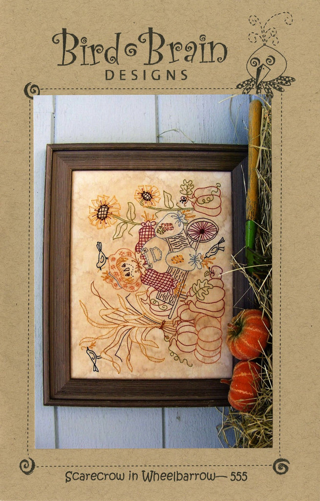 Scarecrow in Wheelbarrow Stitchery