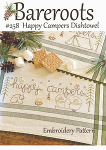 Happy Campers Dishtowel Embroidery Pattern