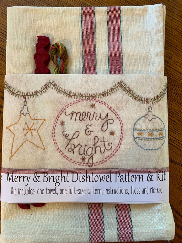 Merry & Bright Dishtowel Pattern and Floss Kit