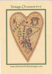 Vintage Christmas Ornament - Prim Heart