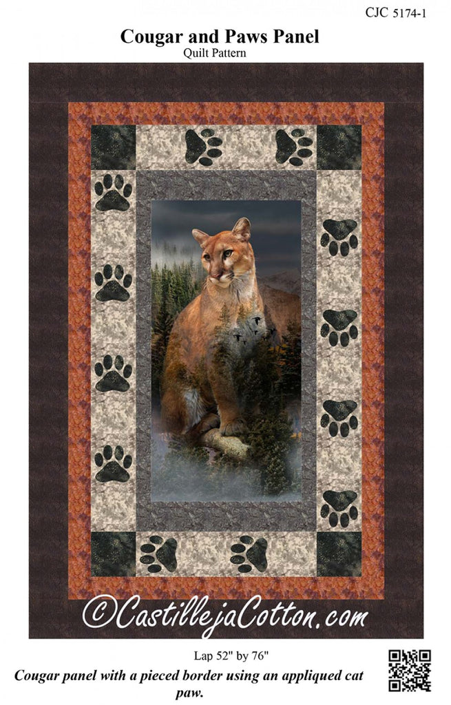 Cougar and Paws Panel Pattern