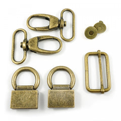Double Flip Shoulder Bag Hardware Kit Antique Brass