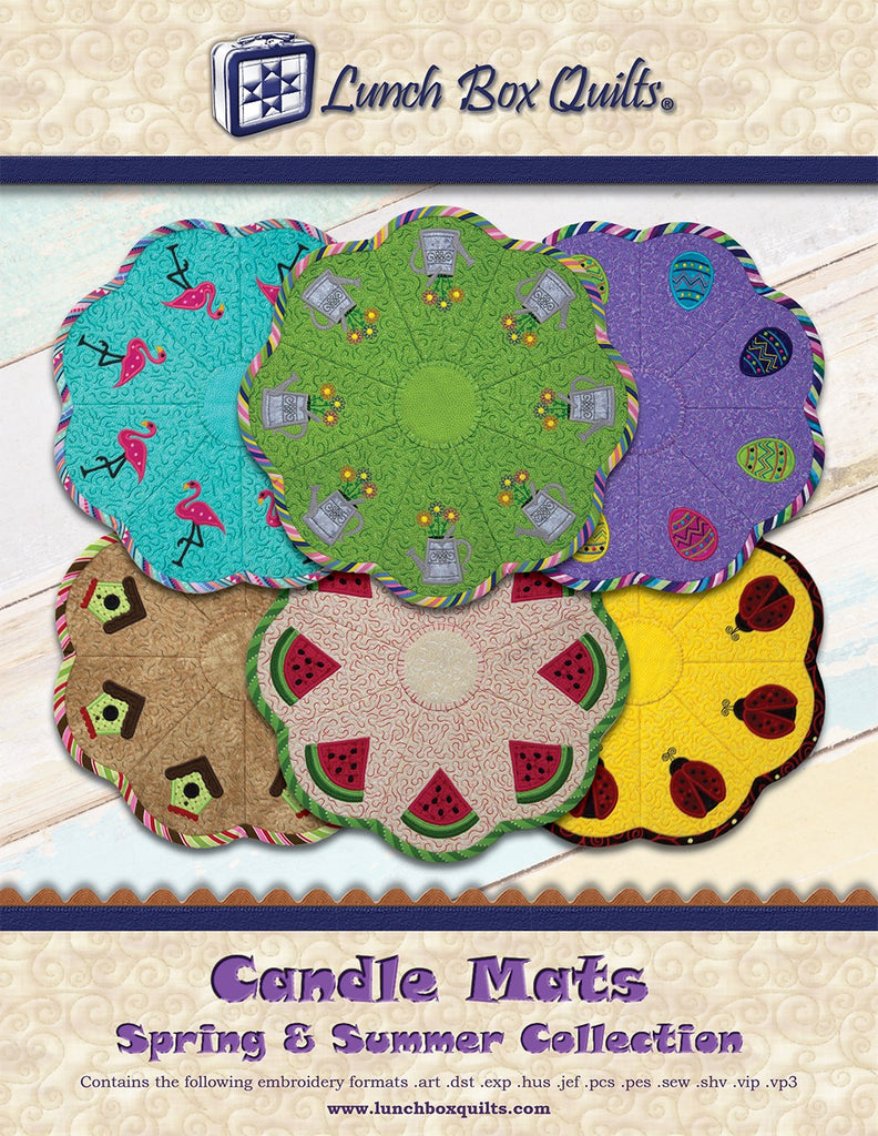 Candle Mats Spring and Summer Applique Machine Embroidery