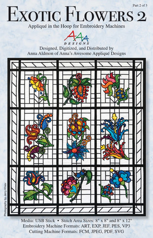 Exotic Flowers 2 Embroidery Machine Applique Quilting Books