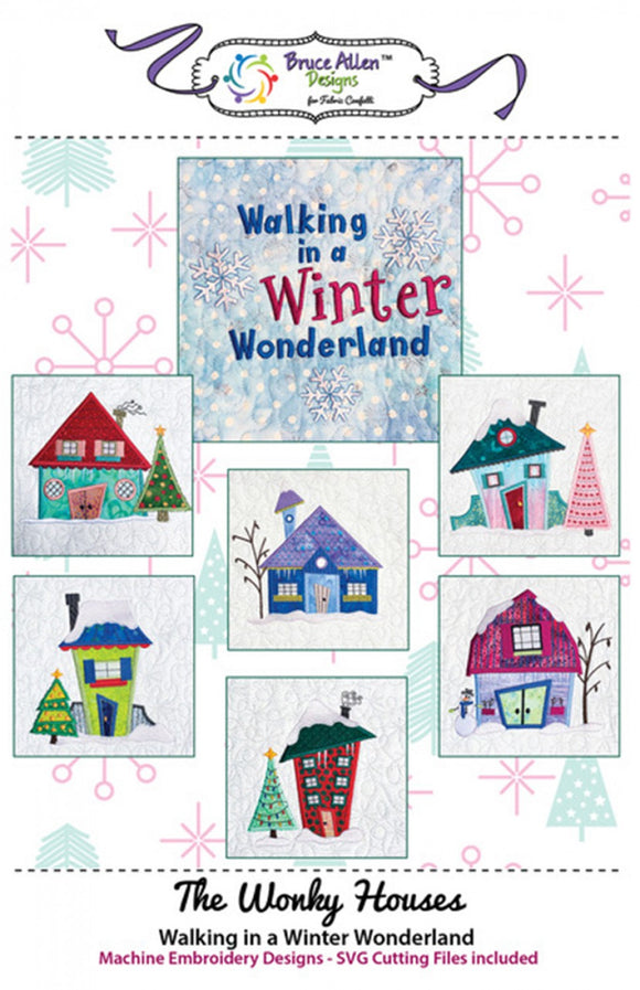 The Wonky Houses Table Runner - Winter - for Machine Embroidery