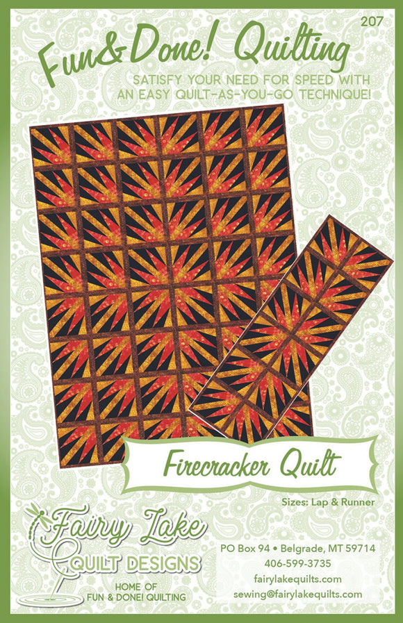 Quilting Pattern Fun /& Done Quilting Quilt As You Go Fairy Lake Quilt Designs Firecracker