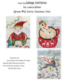 Teeny Tiny Collage Pattern Group #10 Santa, Snowman, Deer by Laura Heine