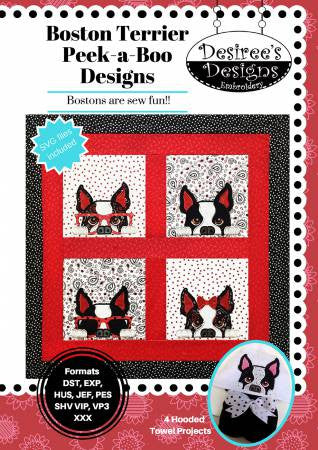 Boston Terrier Peek-A Boo Machine Embroidery Designs
