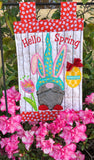 Hello Spring Bunny Gnome Quilt and Garden Flag