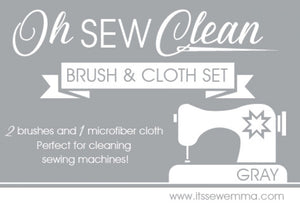 Oh Sew Clean Brush and Cloth Set Grey