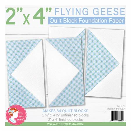 2in x 4in Flying Geese Quilt Block Foundation Paper