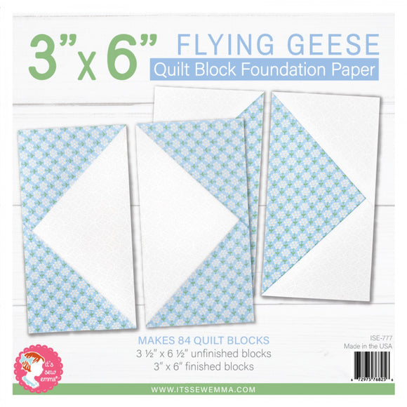 3in x 6in Flying Geese Quilt Block Foundation Paper