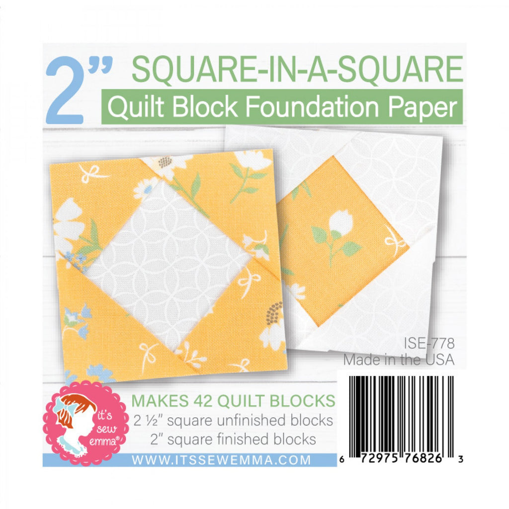 2in Square in a Square Quilt Block Foundation Paper