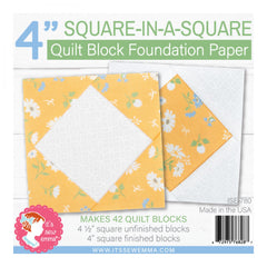 4in Square in a Square Quilt Block Foundation Paper