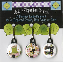 Zip Charm Set - Pink and Black Theme for Quilters