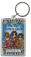 Loves to Quilt Keychain